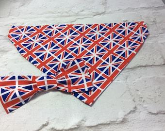 Pet bandana, Pet bow tie, Dog bandana, Dog bow tie, Union Jack bandana, Union Jack bow tie, Cat bandana, Pet accessories, Gifts for pets