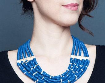 Ukrainian jewelry necklace, beaded ethnic blue necklaces from ceramic bead