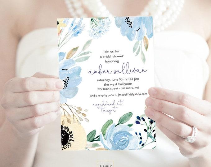 Something Blue - Boho - Blue Floral Bridal Shower Invitation - Garden Shower - Greenery Flowers Dusty Blue Invitation Watercolor Printable
