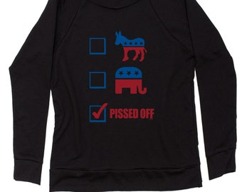P-ssed Off Voter Slouchy Off Shoulder Oversized Sweatshirt