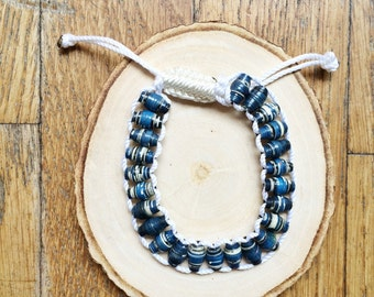 Blue Recycled Magazine Beaded Bracelets