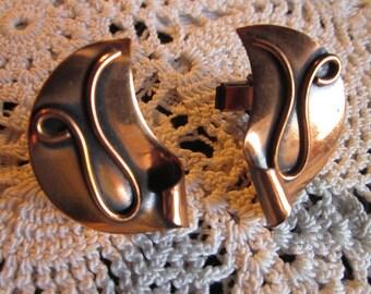 Vintage Copper Cufflink Set Unsigned Matisse Renoir