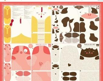 20% off thru 7/10 FARM FUN--panel Moda fabric makes cow, pig, chicken, lamb/ sheep 20530-11