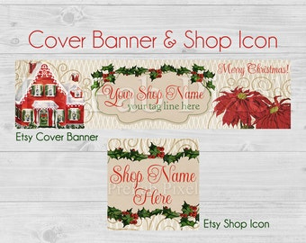 Christmas Cover Photo, Holiday Etsy Shop Design, Etsy Shop Banner, Poinsettia, Christmas House, Cottage, Holly, Red, Green, Rustic, Retro