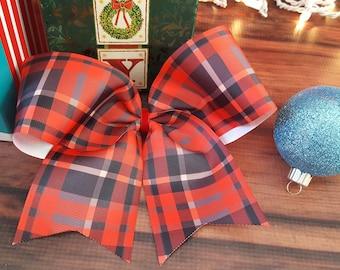 Big plaid cheer bow hair bow boutique bow clip clippie hair clip Christmas hair bow Holiday hair bow