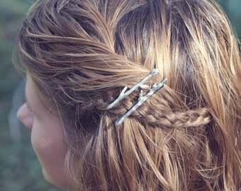 Silver Tiny Twig Branch Bobby Hair Pins by Woodland Belle