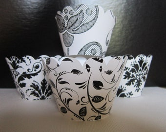 Black & White Damask Cupcake Wrappers