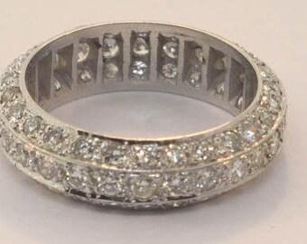 Diamond Pave' Wedding Band Ring Size 6 1/4 NEW