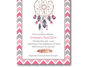 Tribal Shower Invitation, Boho Dream Catcher Invitation, Tribal Wedding Shower Invite, Instant Download, Editable Invitation, Templett