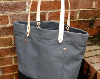 Waxed Canvas Tote Bag with Leather Handles - Large Charcoal Gray & Black Color Blocked Tote With Extra Pocket