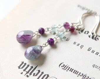 Evening Breeze Earrings - Light Green Purple Fluorite Gemstone Beaded Long Drop Earrings, Sterling Silver Jewellery Handmade by Ikuri