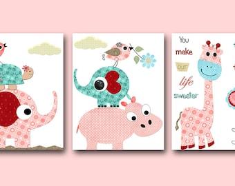 Pink Red Teal Blue Turtle Elephant Giraffe Canvas Print Baby Girl Nursery Art Nursery Wall Art Baby Nursery Kids Room Decor Kid Art set of 3