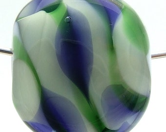 Glass Lampwork Focal Bead Green and Blue Leaf on White