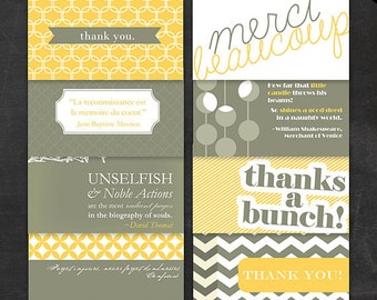 Printable Filler Cards Thank You Notes - 8 Yellow and Grey mini notecards in english and french - Wallet Lunchbox Gift Tag