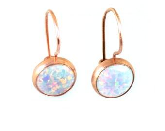 White Opal Earrings | Opal Dangle Earrings | Rose Gold Dangle Earrings | Opal Earrings | Rose Gold Earrings | Gold Dangle Earrings