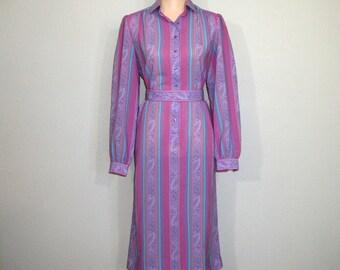 70s Dress Long Sleeve Hipster Belted Vertical Stripe Dress Purple Lavender Pink Secretary Dress Large Vintage Clothing 1970s Womens Clothing