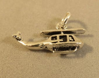 HELICOPTER .925 Sterling Silver 3-D Charm Pendant Plane Copter Chopper New vh37