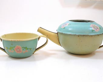 1930s Fairies Tin Toy Pot & Sugar bowl, Art Nouveau Tinkerbell, flowers by Ohio Art.