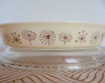 Pyrex Dandelion Duet Divided Casserole with Lid