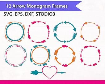 Arrow Circle Frame, Arrow Monogram Frames, Circle Arrows Svg Files, Monogram Arrows Heart Svg Files, SVG Silhouette Files, Svg Cricut Files