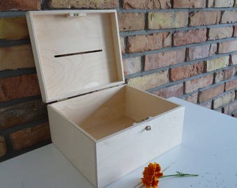 Wedding Wooden Card box with Slot  | Wood Wedding Card Box with key | Wedding Money Box | Wedding Box for Cards I Guest Card Container, wood