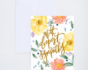 With Deepest Sympathy - Pink And Yellow Florals - Painted - Friendship - Greeting Card - A-2 Single Card