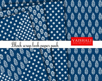 Block print, Indian ethnic, indigo colour, 4 sheets, digital print downloads