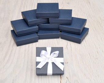 20 Navy Blue 3.5x3.5x1 Jewelry Boxes Square Matte Retail Presentation with Cotton Fill