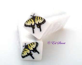 Yellow Swallowtail Butterfly Polymer Clay Cane, Raw polymer Clay Cane, Millefiori Polymer Clay