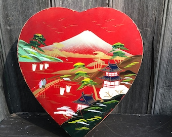 Red lacquer heart shaped box made in Japan with Mount Fuji