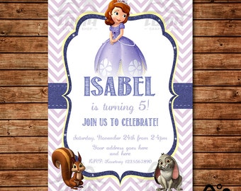 Sofia the First Birthday Invitation, Sofia Birthday, Disney Princess Invitation, Princess Birthday Invitation, Sofia the First, Sophia