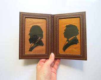 Vintage Framed Silhouettes Pair // Small Vintage Folding Faux Leather Framed Men's Silhouettes on Gold Fabric Bookshelf Decor Standing Art