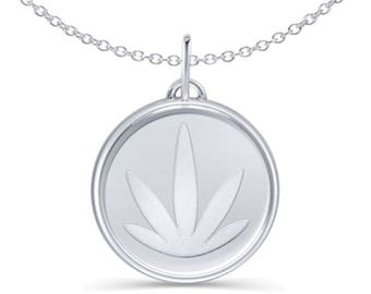 Modern Leaf Pendant with Chain: Sterling Silver, Etched 15mm