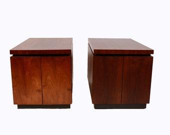 Walnut Side Tables Table Dillingham Danish Modern 1970 Brutalist