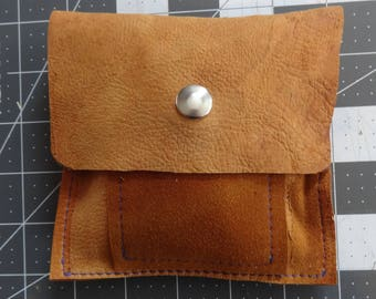 Deerskin Reclaimed Leather Tool Accessory Pouch with Pocket-Change,tools,purse