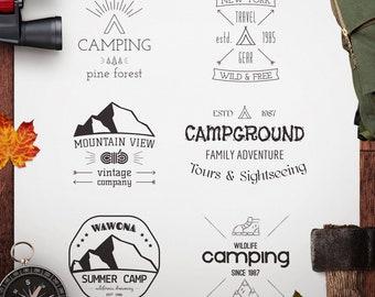 6 Great Outdoors SVG Cut File, Camping Digital, Wanderlust, Adventure SVG cut file, Silhouette Cut File, Cricut Cutting File, Camp Printable