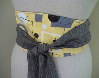 SALE ~ Obi Belt Sash Wrap Belt Black & Yellow Geometric