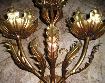 Vintage LG. Opulent Italian Florentine Tole gold gilt Electrified Wall Sconce Chic Antique Lighting.