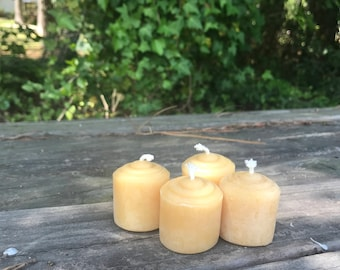 100% Beeswax Votive Candle--Set of 4