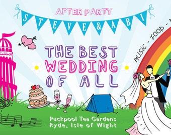 50 Bright Summer Fun Fair Wedfest Wedding Ticket Invitations!