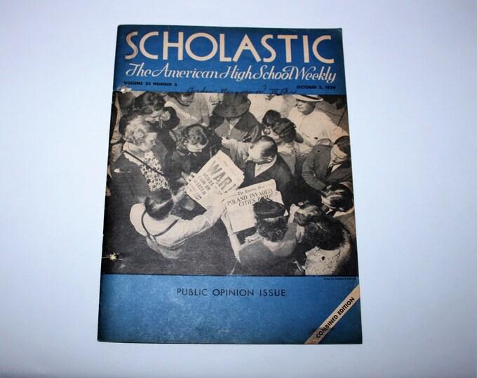 Vintage October 2, 1939 Scholastic: The American High School Weekly