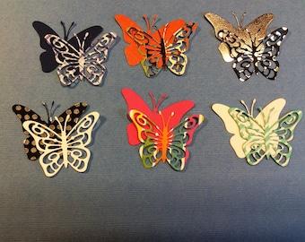 6 Butterflies, Handmade, Variety of Colors, Sizzix