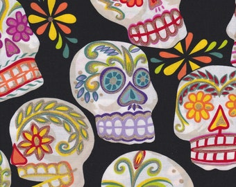 Calaveras, Alexander Henry Fabrics, Sugar Skulls with Gold Metallic Accents on Black