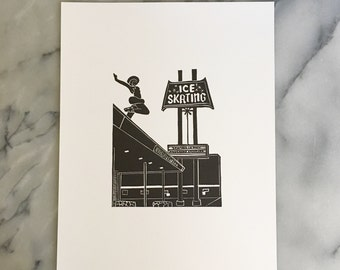Patinoire de Culver, impression typographique sans cadre