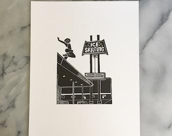 Culver Ice Rink, Unframed Letterpress Print