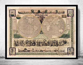 Old World Map Antique 1847