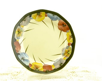 Vintage Bread and Butter Plate-  Royal Doulton Pansies D4049 - Art Deco 1920's
