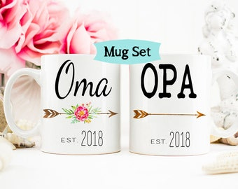 Oma and Opa Mug set, Pregnancy Baby Reveal to New Grandparents
