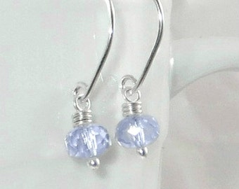 Dainty Periwinkle Blue Earrings, Wire Wrapped Jewelry Budget Friendly Earrings Gifts for Her