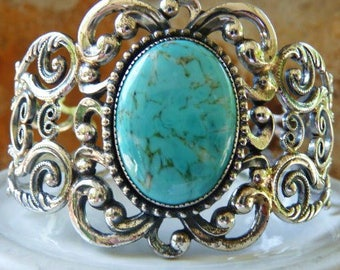 Danecraft sterling silver repousse cuff bracelet | faux turquoise glass cab | designer signed